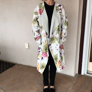 100% Leather Mid-Length Floral Print Jacket